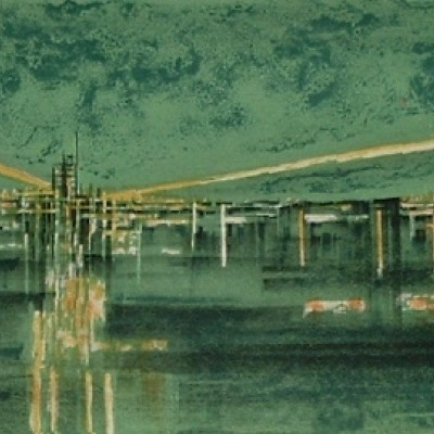 "Richard A. Florsheim ""Airport"" color lithograph"