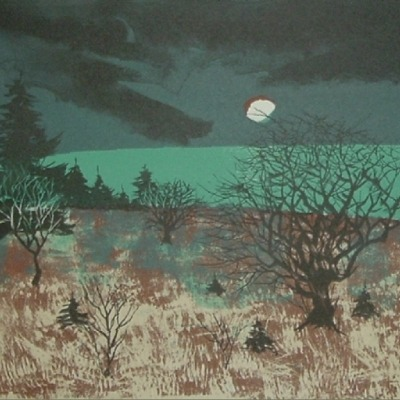 "John Muench ""Autumn Orchard"" 1960 lithograph"