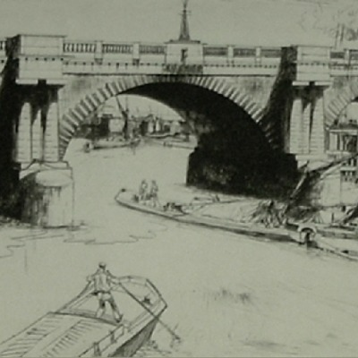 "John William Josef Winkler ""Bermondsey Bridge"" etching"