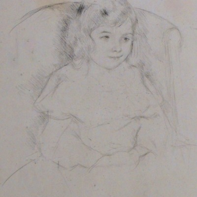 Sara Smiling by Mary Cassatt, 1844-1926; Etching, ca. 1904