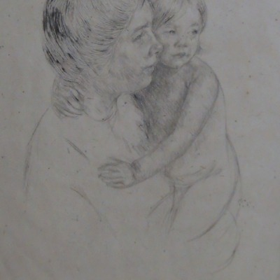 Denise Holding Her Child by Mary Cassatt, 1844-1926; Drypoint Etching, ca. 1905