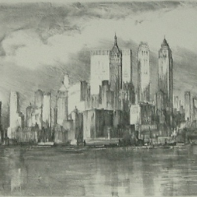 "Lili Rethi ""City Skyline"" lithograph"