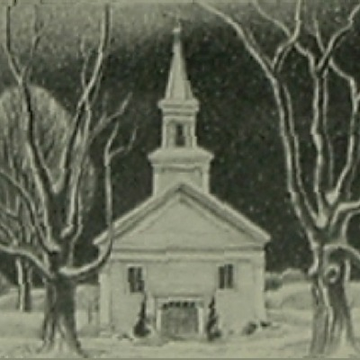 "Ernest Fiene ""Colonial Church"" lithograph"