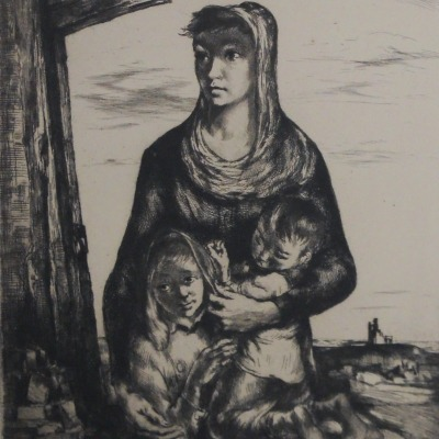 Fatherless by Stephen Csoka, 1807-1989; AAA Etching, 1947
