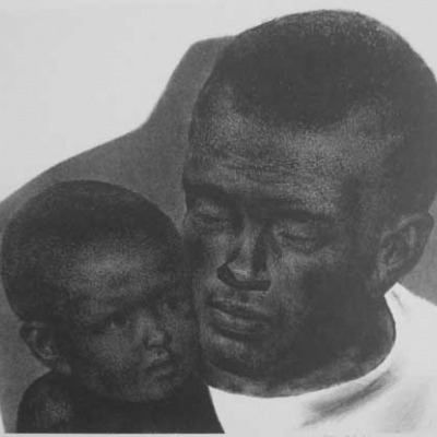 Joseph Hirsch; Father and Son; Lithograph 1945