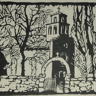 "N.H. Noder ""Guadalupe Church"" lino or woodblock print"
