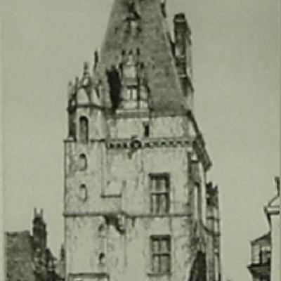 "Louis C. Rosenberg ""Hotel de ville Dreux"" drypoint etching"
