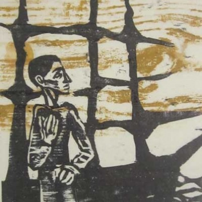 Norman Petersen; Impression from Kairos of Joyce's Ulysses; Woodcut 1952