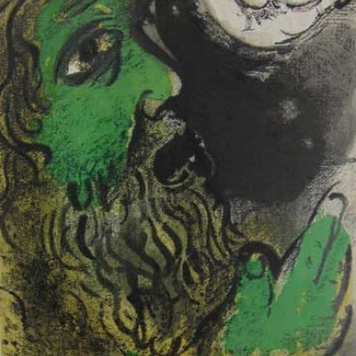 Mark Chagall; Job at Prayer; Lithograph 1960