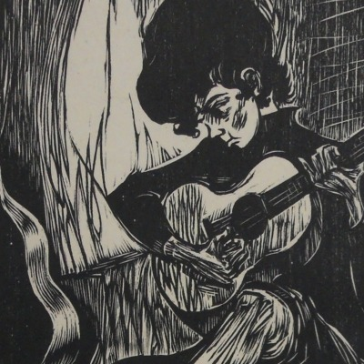 Quiet Moment by Mervin Jules, 1912-1994; Woodcut, 1972