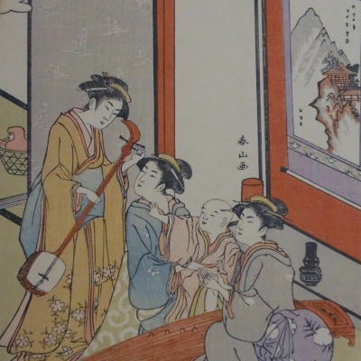 Three Women and Child by Yeisen Keisai, 1789-1851; Color Woodcut, Undated