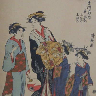 Two Women and Two Children by Torri Kiyonaga, 1752-1815; Color Woodcut, Undated
