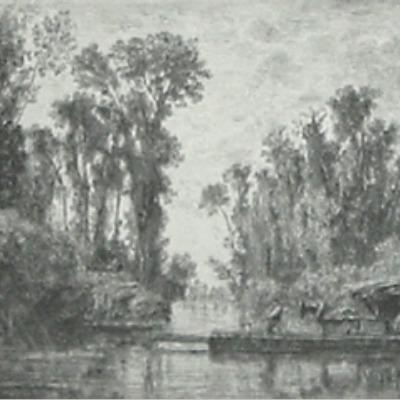 """Charles Daubigny """"Le Bac de Bezons"""" 1850 etching"""