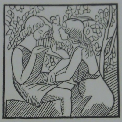 Daphne and Chloe by Aristide Mailol, 1861-1944; Woodcut, 1937