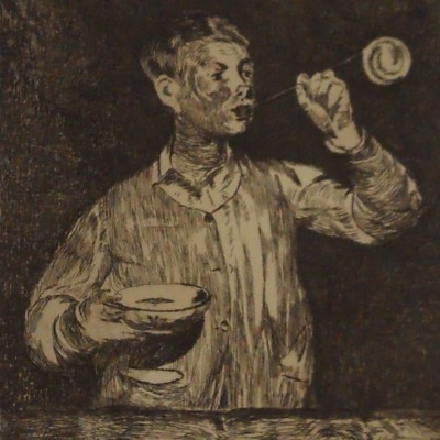 Boy Blowing Bubbles by Edouard Manet, 1832-1883; Etching, 1868-69