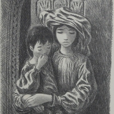 Arab Children by Fletcher Martin, 1904-1979; AAA Lithograph, Undated