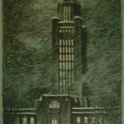 "Kenneth Willmarth ""Nebraska State Capitol"" lithograph"