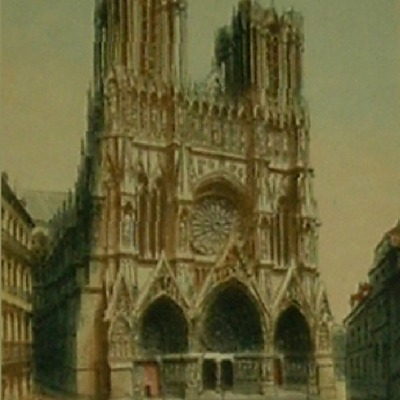 "Victor Valery ""Notre Dame de Reims Cathedral, France"" color etching"
