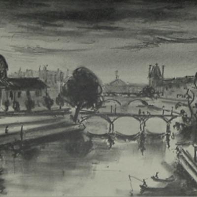 "Arbit Nicolai Blatas ""Pont des Artes Paris"" lithograph"