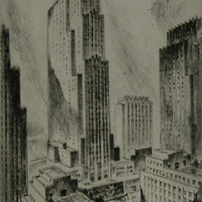 "Nat Lowell ""Rockefeller Center"" etching"