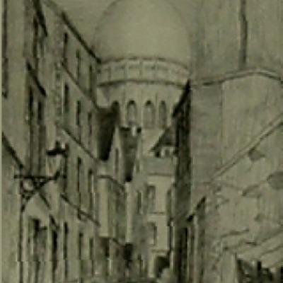 "V.R. Planchet ""Rue St Rustique"" etching"