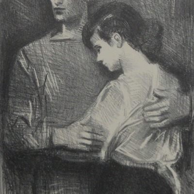Boy and Girl by Raphael Soyer, 1899-1987; AAA Lithograph, 1954