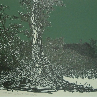 "Frank C. Eckmair ""The Last Turn of the Years"" woodcut"