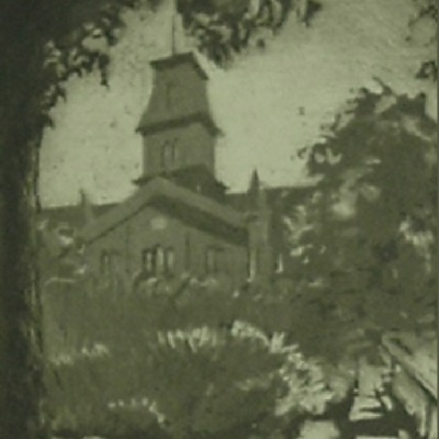 "Ben Albert Benson ""University Hall"" aquatint/engraving"