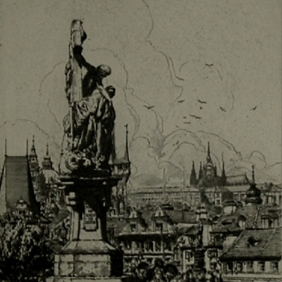 "John C. Vondrous ""View from Charles IV Bridge of Prague"" etching"
