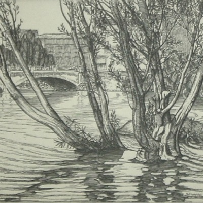 "Roi Partridge ""Water Willows"" etching"