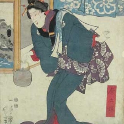Utagawa Kuniyoshi; Woman with a Tea Kettle; Woodcut