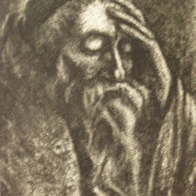 Scribe Meditating by Joseph Margulies, 1941 Etching Aquatint