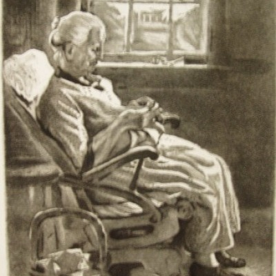 New England Granny by Joseph Margulies, 1939 Etching