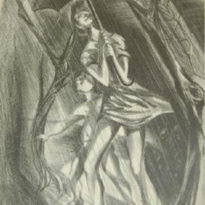 Spring Rain by Gwen Creighton Lux, 1947 Lithograph