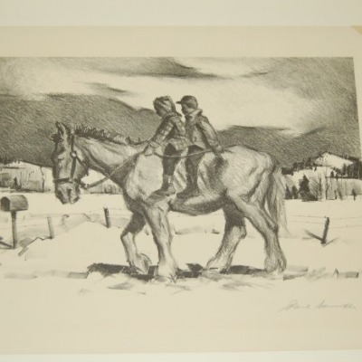Rural Delivery by Paul Sample, 1948 Lithograph