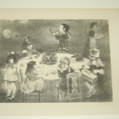 Birthday Party by Lily Harmon, 1945 Lithograph