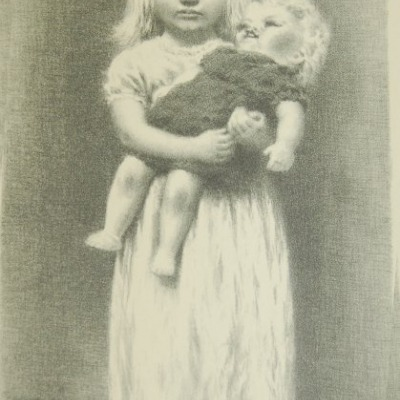 Little Girl with a Doll by James Chapin, 1946 Lithograph
