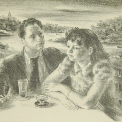 By the Lake by Robert Philipp, 1943 Lithograph