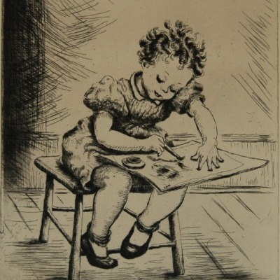Artist at Work by Alice Conley Murphy, 1946 Etching
