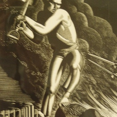 Workers of the World Unite by Rockwell Kent, 1937 Wood Engraving