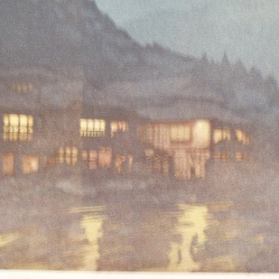 An Evening in a Hot Spring by Hiroshi Yoshida; 1939 Woodblock