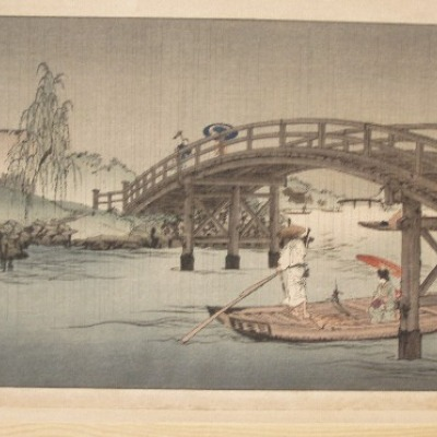 A Bridge in the Rainy Season by Koho Shoda, 1912-26 Woodblock