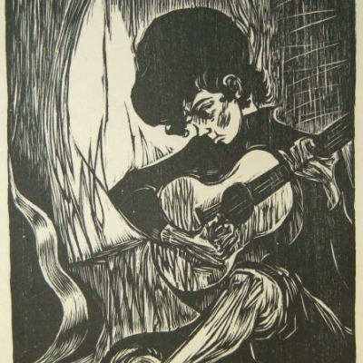 Quiet Moment by Mervin Jules, 1972 Woodcut