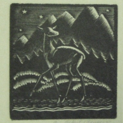The Fawn by Albert Benson; Undated Woodcut