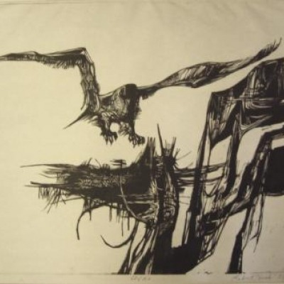 Eagle by Robert Huck; 1958 Woodcut