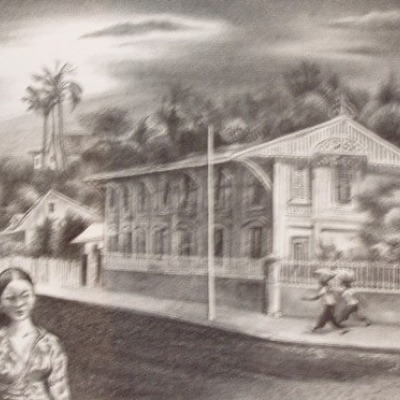 Street in Noumea by Aaron Bohrod, Lithograph