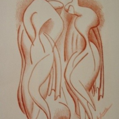 Bathers by Alexander Archipenko, Lithograph 1954