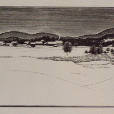 Mid-Winter by Asa Cheffetz, Wood Engraving 1949