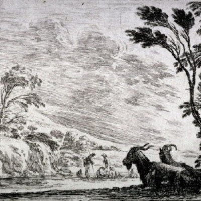 Goats in Landscape by Stefano della Bella, 1642 Etching