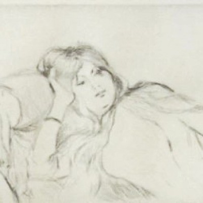 Jeune fille au repos by Berthe Morisot, Drypoint Etching 1887